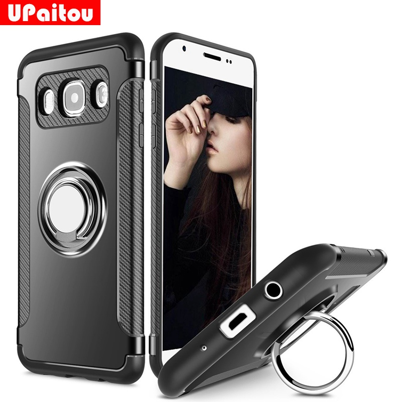 Galleria fotografica UPaitou Case for Samsung Galaxy J3 J5 J7 2016 Case J510F J710F J320 Holder Stand Magnetic Suction Bracket Case 360 Ring Rotating