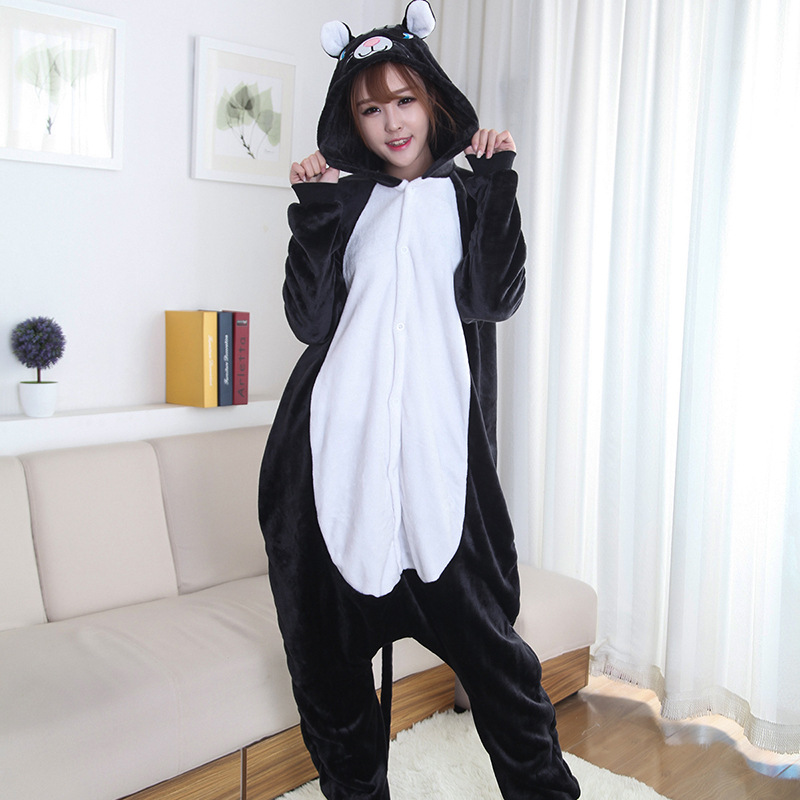black cat adult onesie