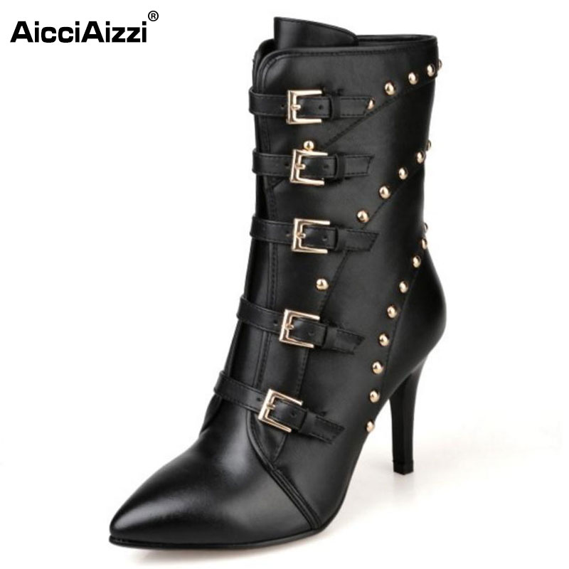 AicciAizzi Women Genuine Leather High Heel Boots Women Rivet Buckle Mid Calf Boots Warm Fur Shoes Winter Footwear Size 33-43 prova perfetto winter women warm snow boots buckle straps genuine leather round toe low heel fur boots mid calf botas mujer