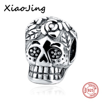SG 100 New Real 925 Sterling Silver Skull Jewelry Beads Fit Pandora Charms Antique Beads Pandant