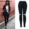 Fover 21 Hot Popular Chic Women Sexy Hole Pencil Pants High Waist Thin Elastic Pants Skinny Jeans Free Shipping Wholesale