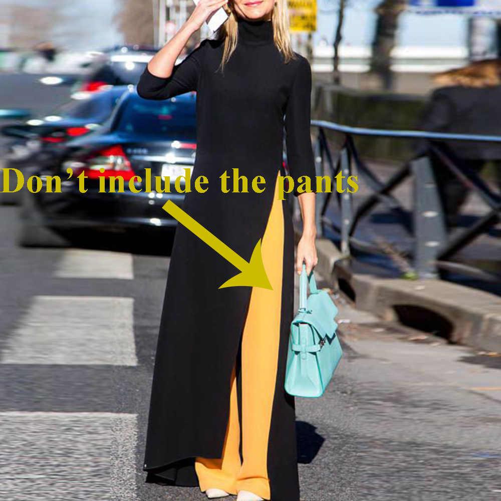 Женская мода плюс размер Макси платье Асимметричный западный стиль Водолазка пуловер эластичный черный Вязание более размер длинное платье