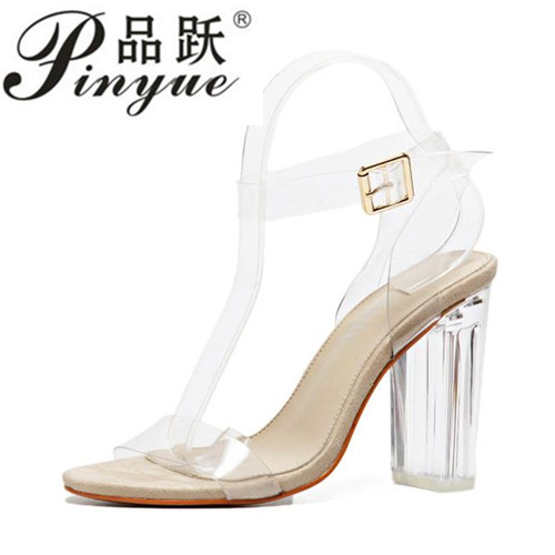 4823d3f203a 2018 Jelly Sandals Open Toe High Heels Women Transparent Perspex Shoes  Thick Heel Clear Sandals Plus Size35-43