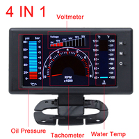 4 In 1 Anti bump Digital Display Water Temperature Stable Oil Pressure Accessories Voltmeter Meter Car tachometer LCD Gauge rpm