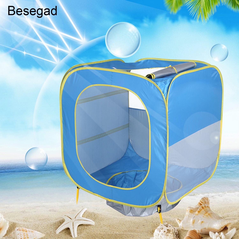 Pop up UPF50 + защита от солнца Портативный пляжные палатка игровая палатка солнце Shelterfor для маленьких мальчиков и девочек Семья Граден Кемпинг п...