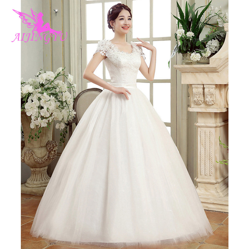 AIJINGYU 2018 custom made free shipping new hot selling cheap ball gown lace up back formal bride dresses wedding dress FU208