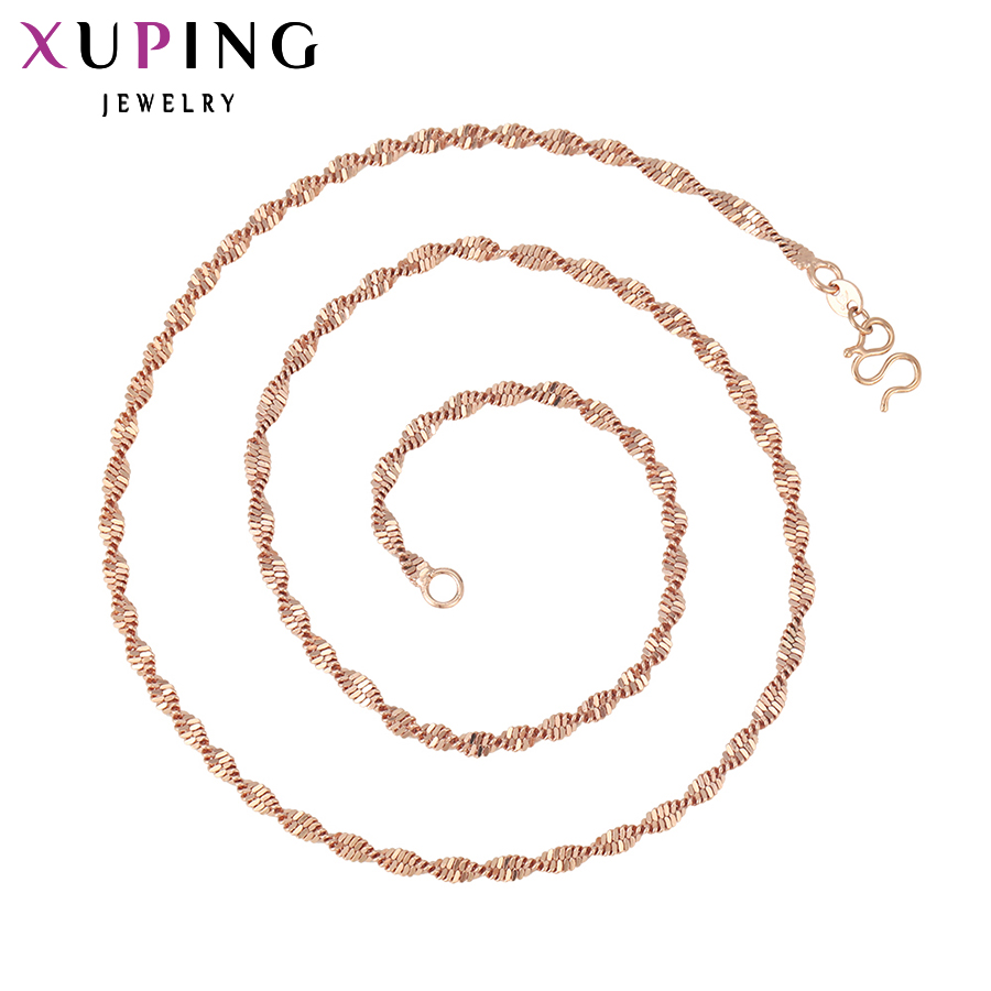 11.11 Deals Xuping Fashion Necklace Special Twisted Singapore Long Necklace Jewelry for Women Gold Color High Quality Gift 42444