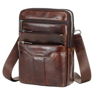 Image 3 - Vintage Leather Shoulder Messenger Bag for Men Travel Business Crossbody Pack Wallet Satchel Sling Chest Bags Black