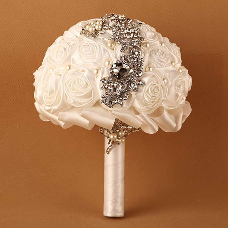 Handmade High Quality Wedding Bouquet Bridal Bride Artificial Silk Rose Flower Ivory Black Blue Color Prom Bling Accessories In Dried Flowers