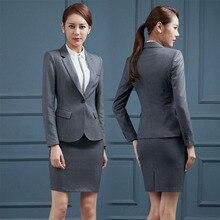 Плюс размер 4XL длинный рукав формальный офисный женский стиль профессиональные костюмы с курткой и юбкой женские офисные блейзеры одежда для работы