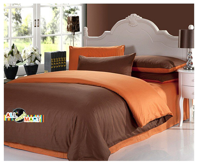 Free Shipping 4pcs Designer Cotton Contrast Color Bedding Set Comforter Bed Sheet Brown And Orange Simple Fashion Modern
