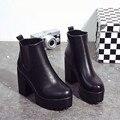 Venta Caliente del otoño Invierno Mujeres Botas Plataformas de Tacón Cuadrados Señoras de la Bomba de Cuero de Alta Del Muslo Botas Zapatos de Mujer de Moda Keep Warm