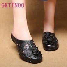 Gktinoo sandálias femininas de couro legítimo, chinelos fechados, sapatos femininos de verão, feito à mão, deslize de flores