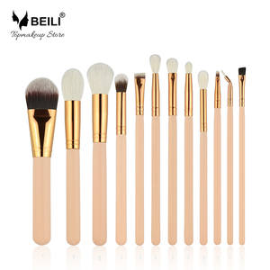 Набор кистей для макияжа из козьей шерсти BEILI, набор кистей для макияжа, основы для макияжа, теней для век, бровей, 12 шт., бежевые кисти без лог...
