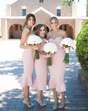 New Arrival 2017 Pink Mermaid Bridesmaid Dress Sweetheart Satin Tea Length Maid of Honor Dress Wedding Guest Gown BD225