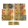 Novo estilo 6 pçs/set cor brasil notas 2 5 10 20 50 100 reais notas de ouro em ouro banhado a réplica para coleção