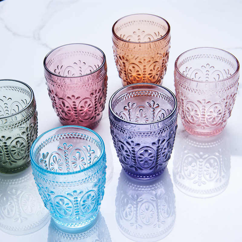 2Pcs/Lot 300ML Multicolor Glass Cup Embossed Drinking Glasses Water Glass Cup Milk Juice Wine Tumblers for Party Bar Glassware