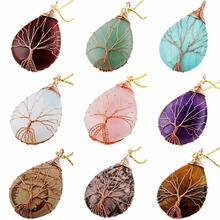TUMBEELLUWA Tree of Life Pendant Handmade Copper Wire Wrapped Teardrop Stone Healing Chakra Jewelry konstantin melnikov and his house