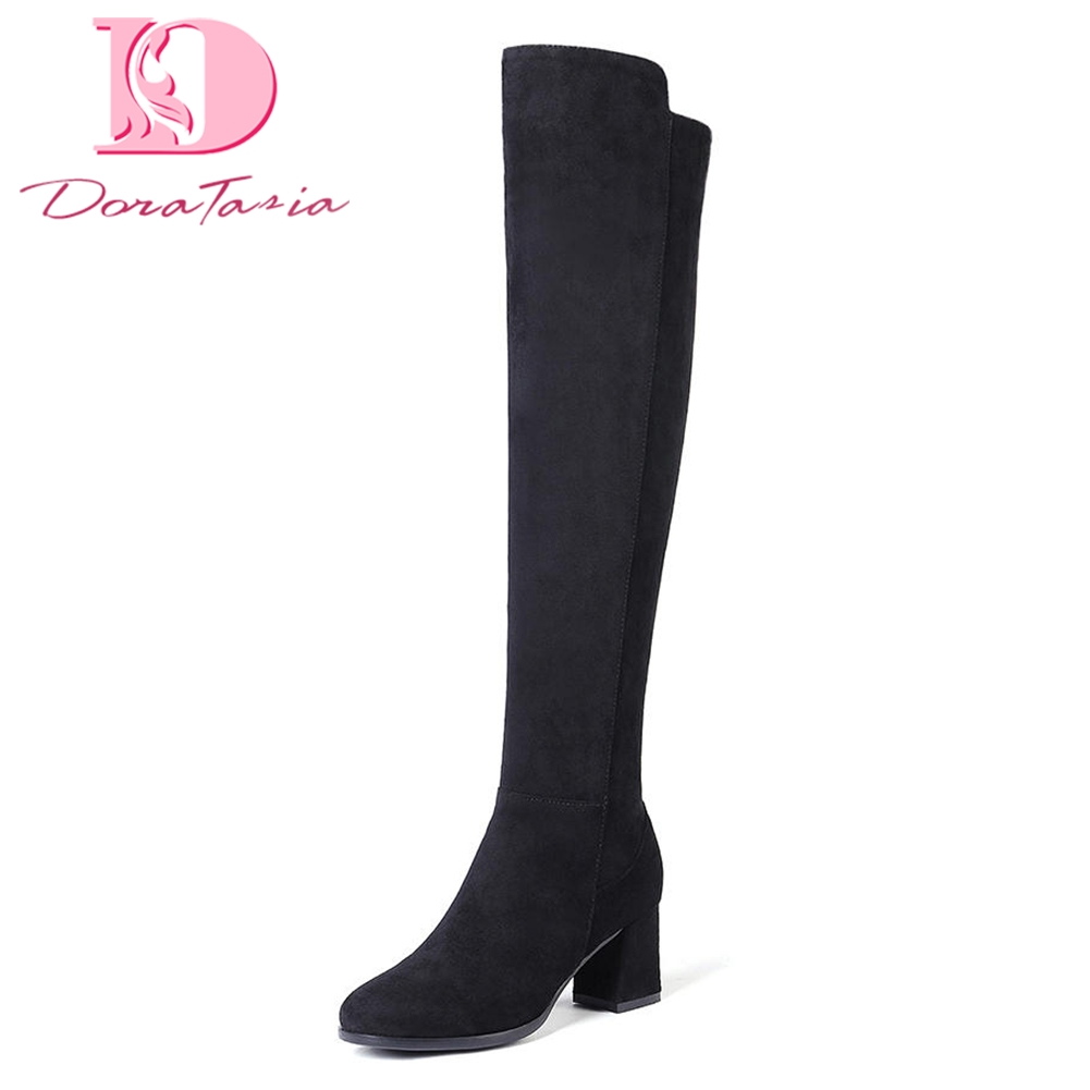 DoraTasia 2018 Dropship Large Size 34-43 Add Fur Knee High Boots Woman Shoes Zip Up brand high Heels Shoes Woman Winter Boots sarairis new plus size 32 43 sequin add fur winter boots woman new fashion dropship zip up ankle boots woman shoes woman