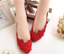 Red color lace wedding shoes pearl handmade flat heel women's party shoes in stock in discount female ladies flats XNA 093