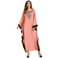 187056 Dubai Hui Muslims Stitching Color Bat Sleeve Robe Large Size Women Dress Musulman Gowns Vestidos Mujer Vestidos