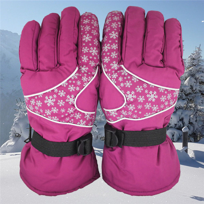 Female Winter Full finger ski gloves shockproof waterproof Anti- cold Riding Skiing Gloves Keeping Warm
