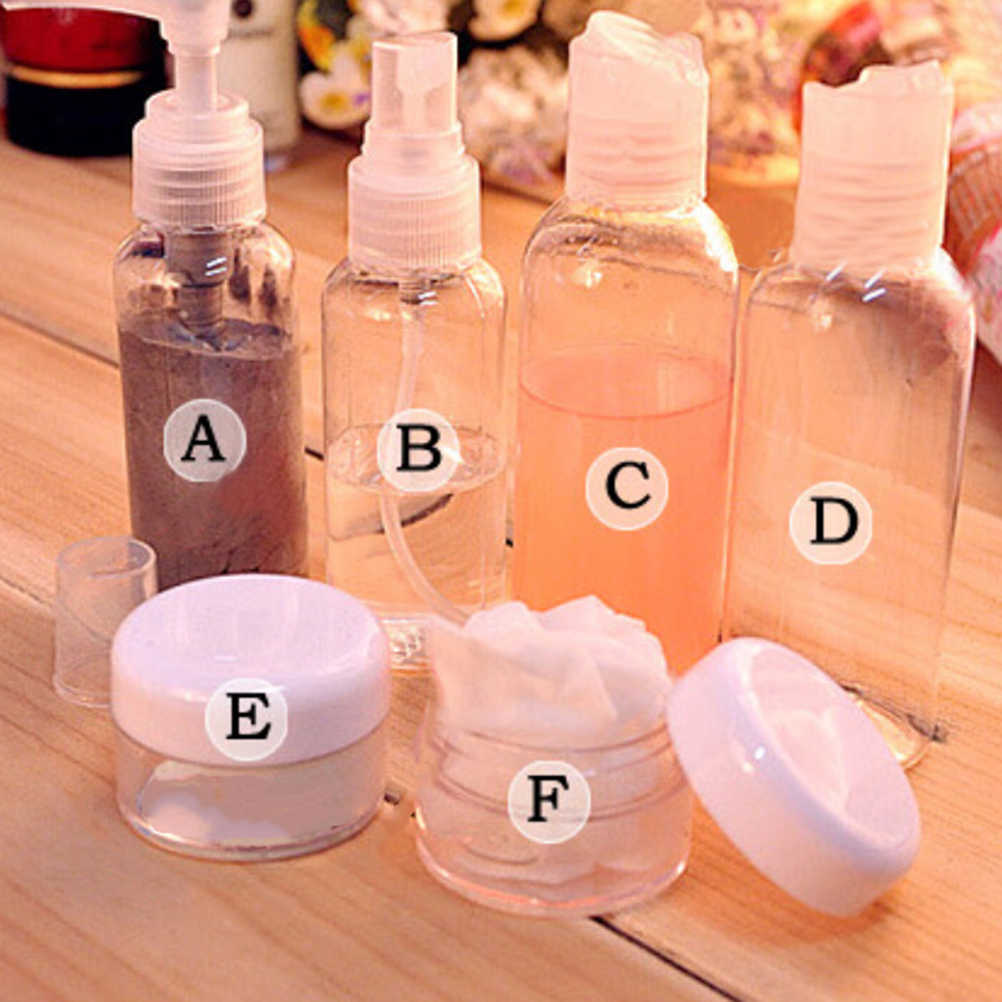 6Pcs/Set Fashion Mini Plastic Portable Transparent Small Empty Spray Cream Bottles For Travel Make Up Skin Care Refillable