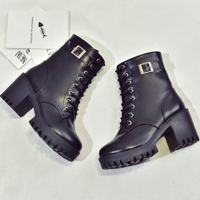938ae1e768223 2017 Nueva Moda de Invierno Botines Suaves Cuadrados Tacones Altos Zapatos  Impermeables Mujer Toe Ata Para