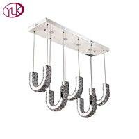 AC110 240V Rectangle Modern Brief LED Crystal Chandelier L85 W24 H100CM Dining Room Lustres De Cristal