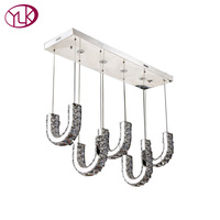 AC110 240V Rectangle Modern Brief LED Crystal Chandelier L85 W24 H100CM Dining Room Lustres De Cristal