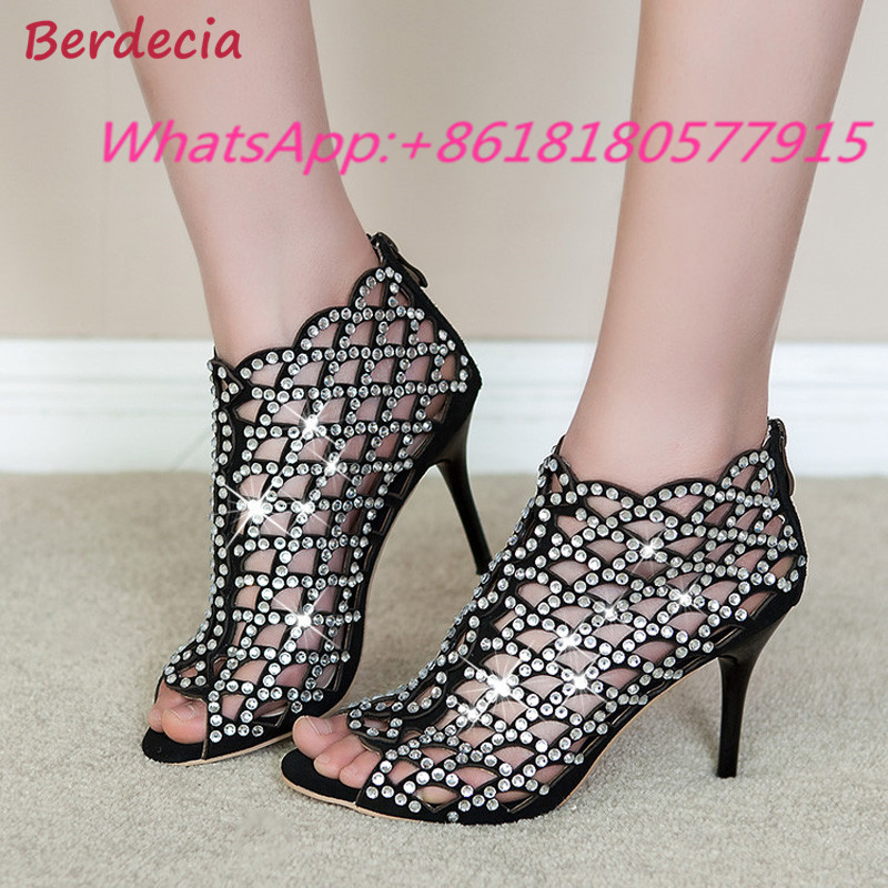 Luxurious Hollow Crystal Cover Heel Thin High Heels Shoes Woman Party Gladiator Zipper Woman Sandals Fashion Sapato Feminino