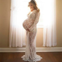 Maternity Photography Props Maxi Maternity Gown V Neck Lace Dresses Maternity Dress Fancy Shooting Photo Pregnant