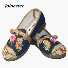 Купить с кэшбэком Spring summer womens vintage floral embroidered flat TPR heeled shoes cotton and hemp upper with Chinese traditional button