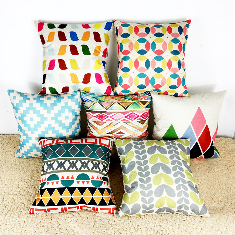 Nordic style Pastel simple geometric Chair Pillow Abstract modern Pillow Color Personality ...
