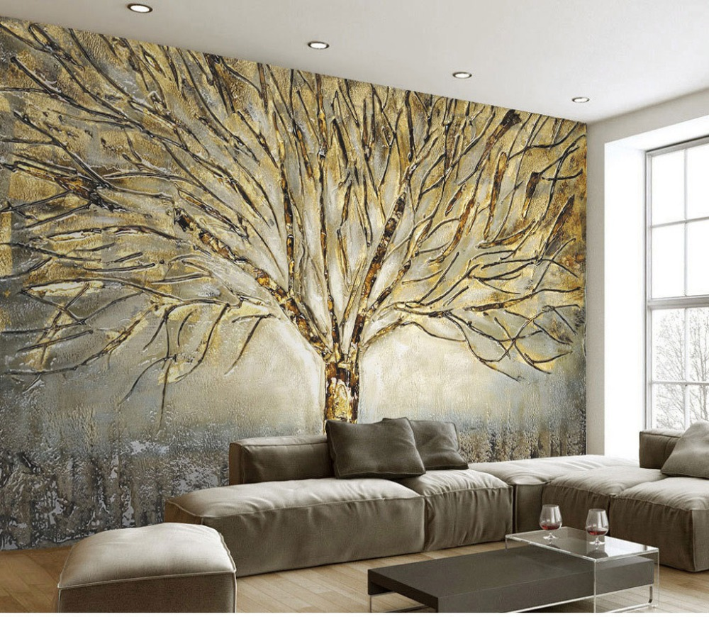 Us 158 48 Offhome Decor Wall Papers 3d Embossed Tree Wall Painting Photo Wall Mural Living Room Bedroom Self Adhesive Vinyl Silk Wallpaper In