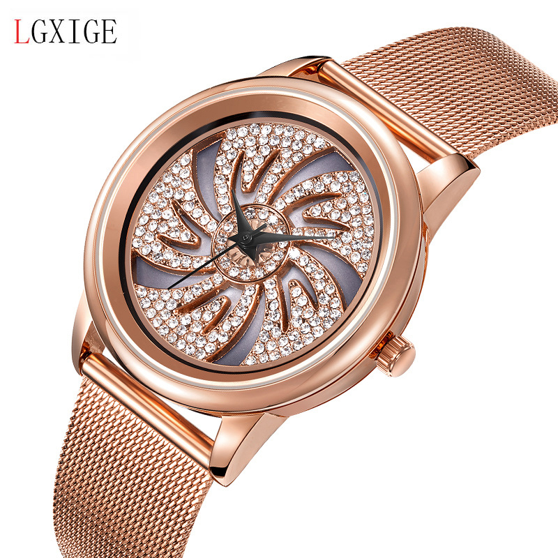 Genuine watch LGXIGE Brand Luxury Women Watches Waterproof Business Rose Gold Stainless Steel Ladies Quartz Diamond Wrist watch 2017 new jsdun luxury brand automatic mechanical watch ladies rose gold watches stainless steel ladies tourbillon wrist watch