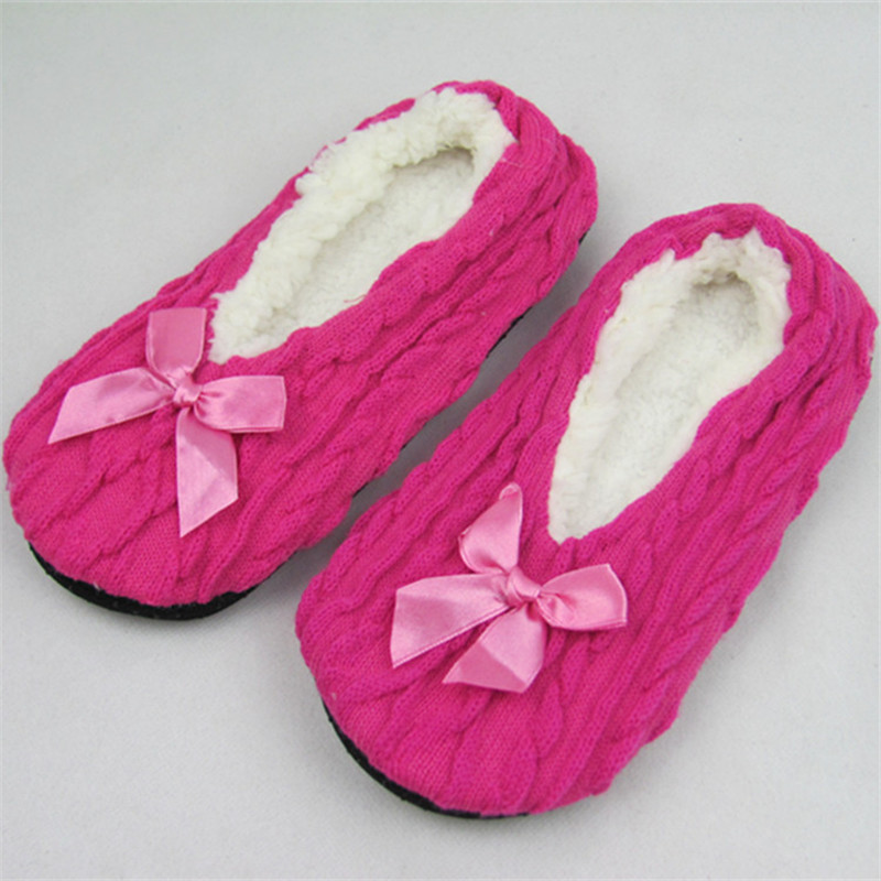 New Cotton Shoes Plush Female Floor Shoes Bow-knot Fleece Indoor Shoes Woman Home Slippe Winter Warm At Home Women Slippers suihyung new winter warm women home slippers plush indoor shoes funny bear pattern cotton padded shoes house bedroom floor shoes