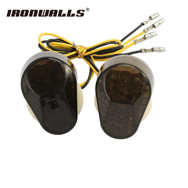 Ironwalls 12V LED Motorcycle Turn Signals Indicator Motorbike Light Flasher Flush Mount Smoke Lens For Kawasaki ZX636 ZX12R ZX6R