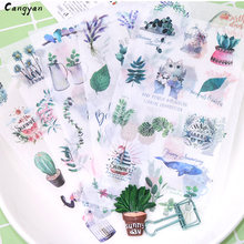6pcs Original European and American style small fresh hand account stickers decorative painting creative cat plant stickers toys(China)