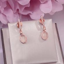 Хорошее ювелирное изделие S925 висячие серьги из серебра 925 пробы для женщин натуральный драгоценный камень розовый Кварц Овальные Свадебные Brincos CCEI006