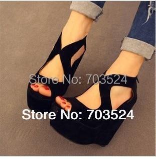 black color women shoes sandals fashion comfortable platform shoes thin high-heeled open toe wedges zip shoes female