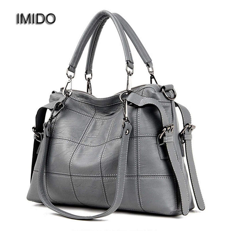 IMIDO Europe Large Capacity Genuine Leather Bags Ladies Real Leather Sheepskin Bag Women Handbags Tote Quality Grey bolsa HDG013-in Shoulder Bags from Luggage & Bags    1