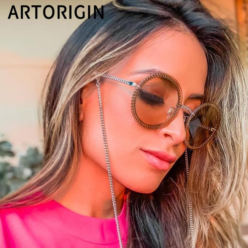 Fashion Sunglasses Women 2019 Luxury Brand Round Shades For Women Popular Ins Sun Glasses Chain Summer Female Eyewear
