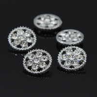 20 Pieces 1 6cm Silver Clear Rhinestone Alloy Round Buttons Sewing Craft RNK97Y