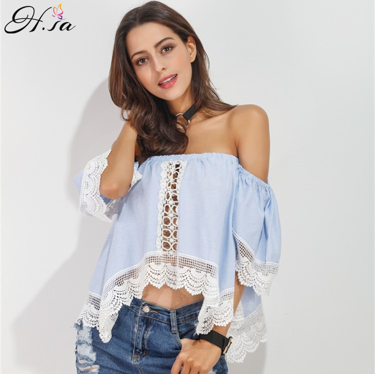 H.SA 2017 Sexy Lace Up Blouses Shirts for Women Off Shoulder Sexy summer  tops off shoulder Blouses Women Shirts European boho-in Blouses & Shirts  from ...