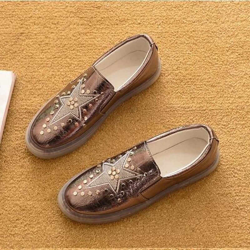 Color Yellow Schuhe Mit silver Wohnungen Flache Chaussure Herbst Boot pink Frauen Größe Und Weiblichen Frühjahr Neue Beiläufige gun Faulenzer Obuv Niet Große Uq4Sw1