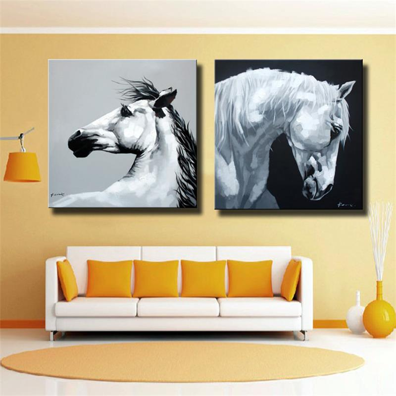 Black White Horses Canvas Art Wall Picture for Living Room Hand ...