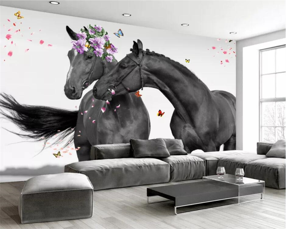 Beibehang Wallpaper Custom Photo Sweet Couple Horse Modern Minimalist Nordic Hand-painted Mural Wall Decoration Painting