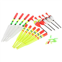 1 set (15Pcs) Vertical Buoy Sea Fishing Floats Assorted Size for Most Type of Angling with Attachment Rubbers Fishing Lures