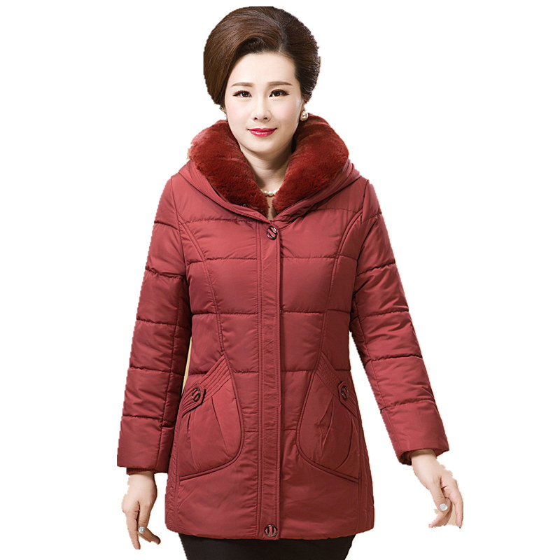 2017 New Winter jackets and coat Down Jacket Hooded Cotton Fur Collar long coat Women Warm Outwear Plus Size 6XL The elderly in the elderly cotton down jacket women s winter coat thickening plus cashmere
